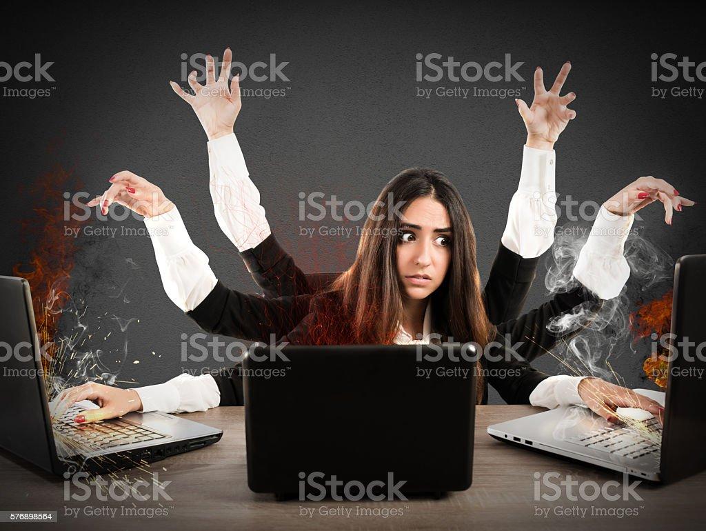 Stressed multitasking secretary stock photo
