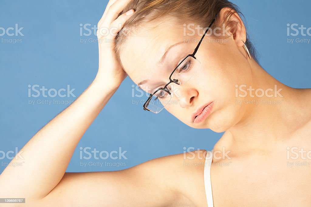 Stressed out bothered woman. royalty-free stock photo