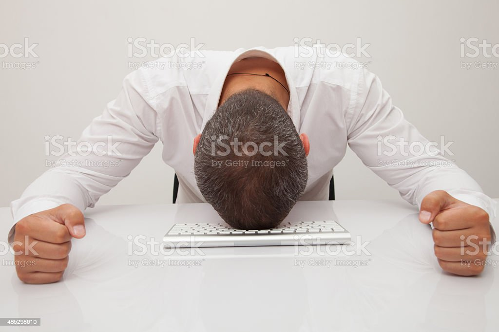 Stressed out businessman stock photo