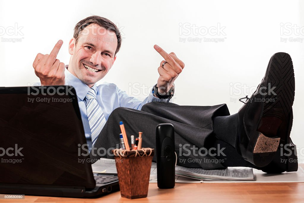 stressed out office employee different expressions stock photo