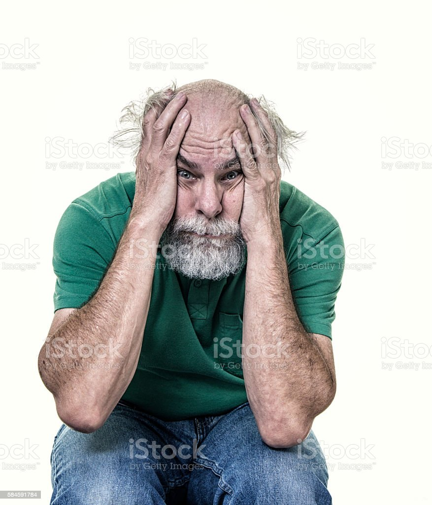 Stressed Out Overworked Balding Senior Adult Man Hands On Head stock photo