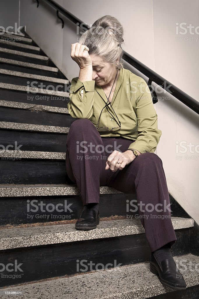 Stressed out senior woman stock photo