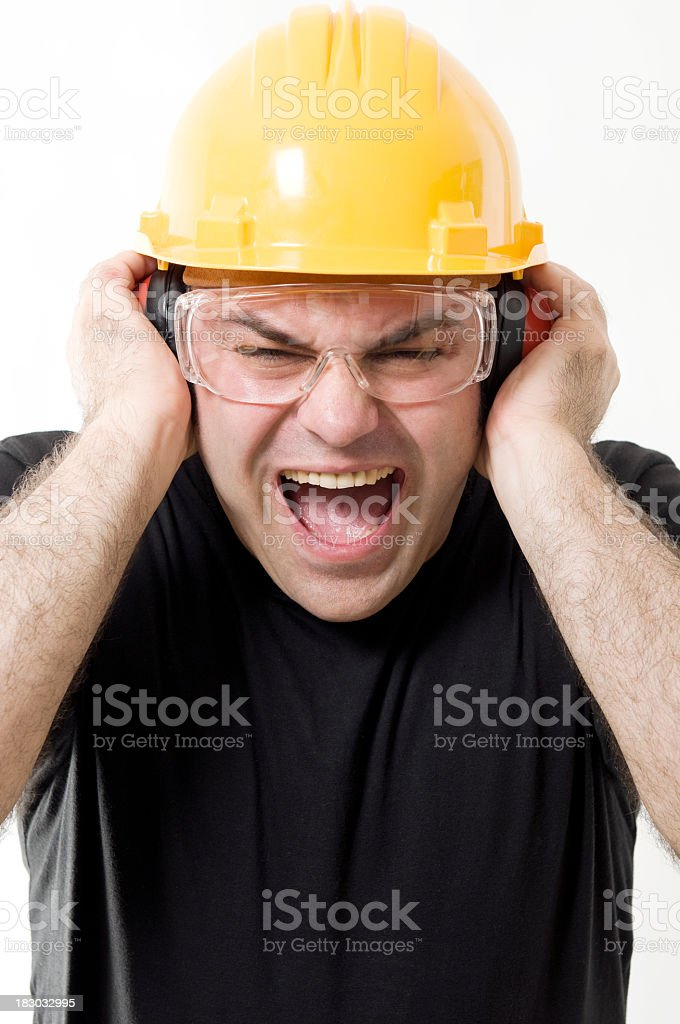Stressed out worker, screaming, isolated on white stock photo