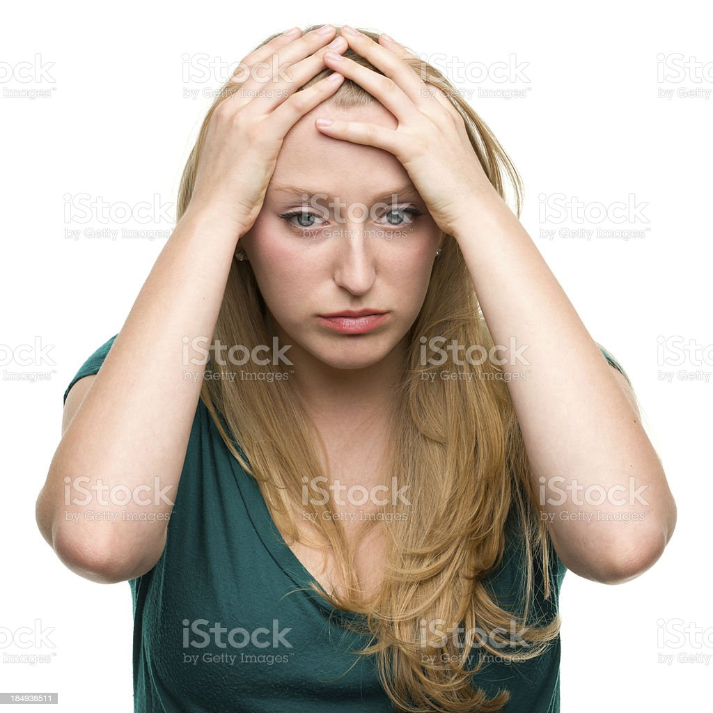 Stressed Out Young Woman With Headache royalty-free stock photo