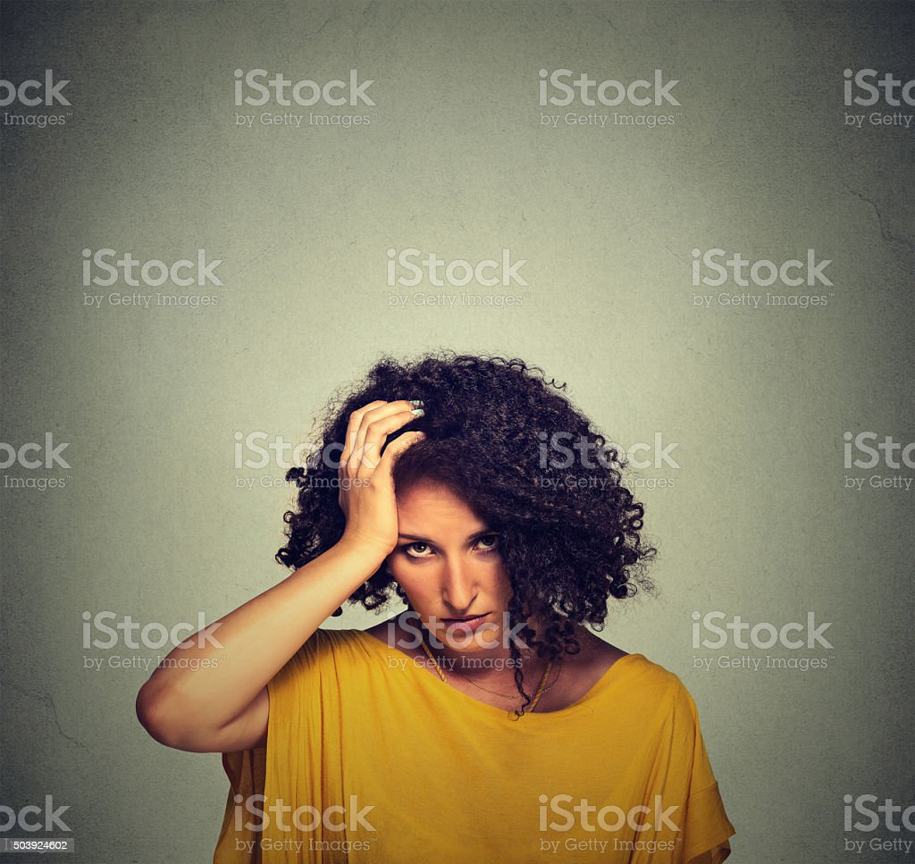 stressed sad young woman stock photo