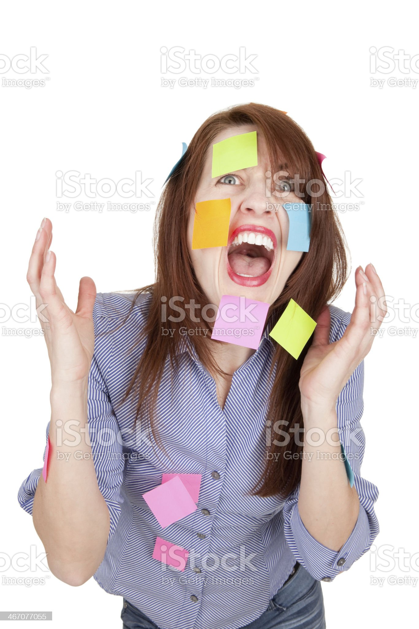 Stressed Screaming Woman With Sticky Notes All Over Her royalty-free stock photo