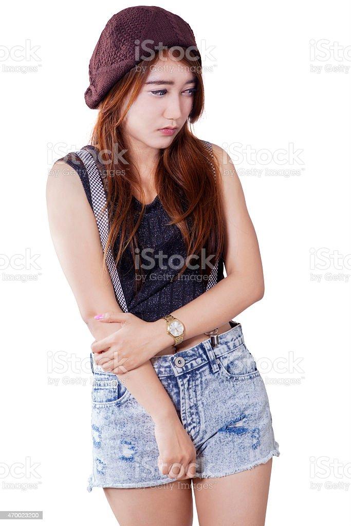 Stressed teenage girl get bullying stock photo
