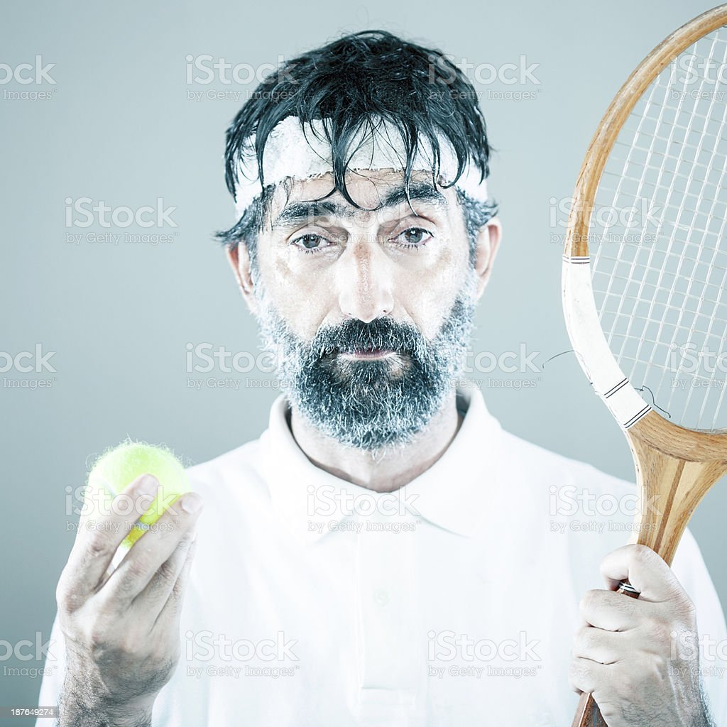 Stressed tennis player royalty-free stock photo