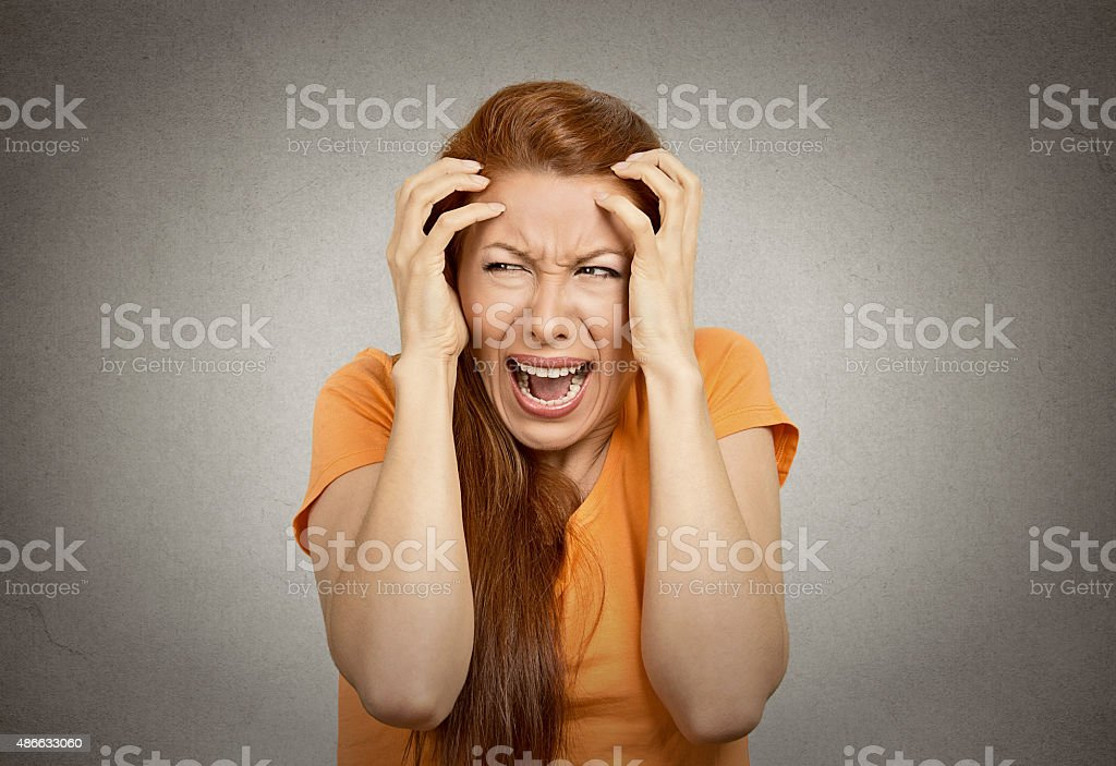 stressed upset woman having breakdown stock photo