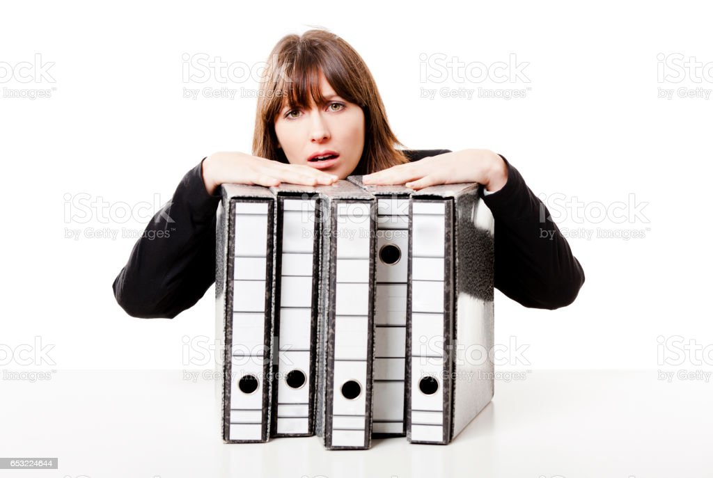 Stressed woman at the office royalty-free stock photo