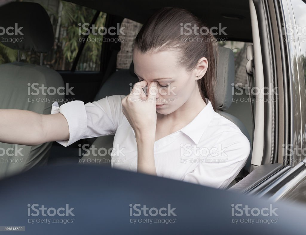 Stressed woman driver stock photo
