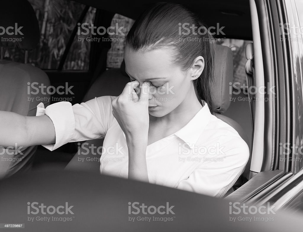 Stressed woman driver. stock photo