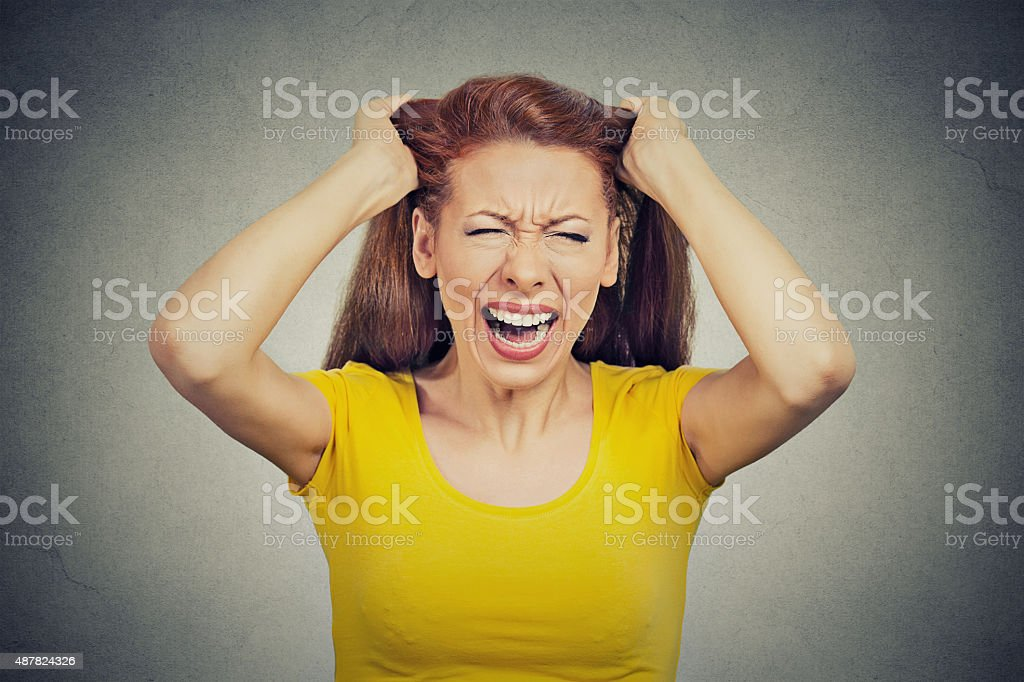 stressed woman having bad day many things to do screaming stock photo