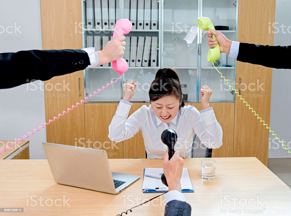 Stressed work in office stock photo