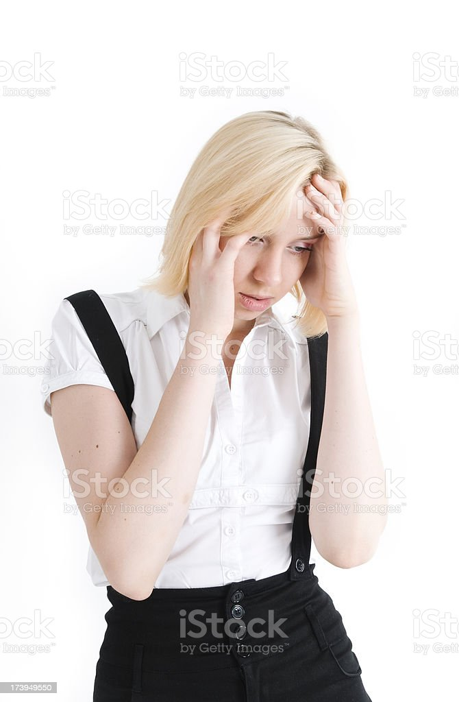 Stressed young businesswoman royalty-free stock photo