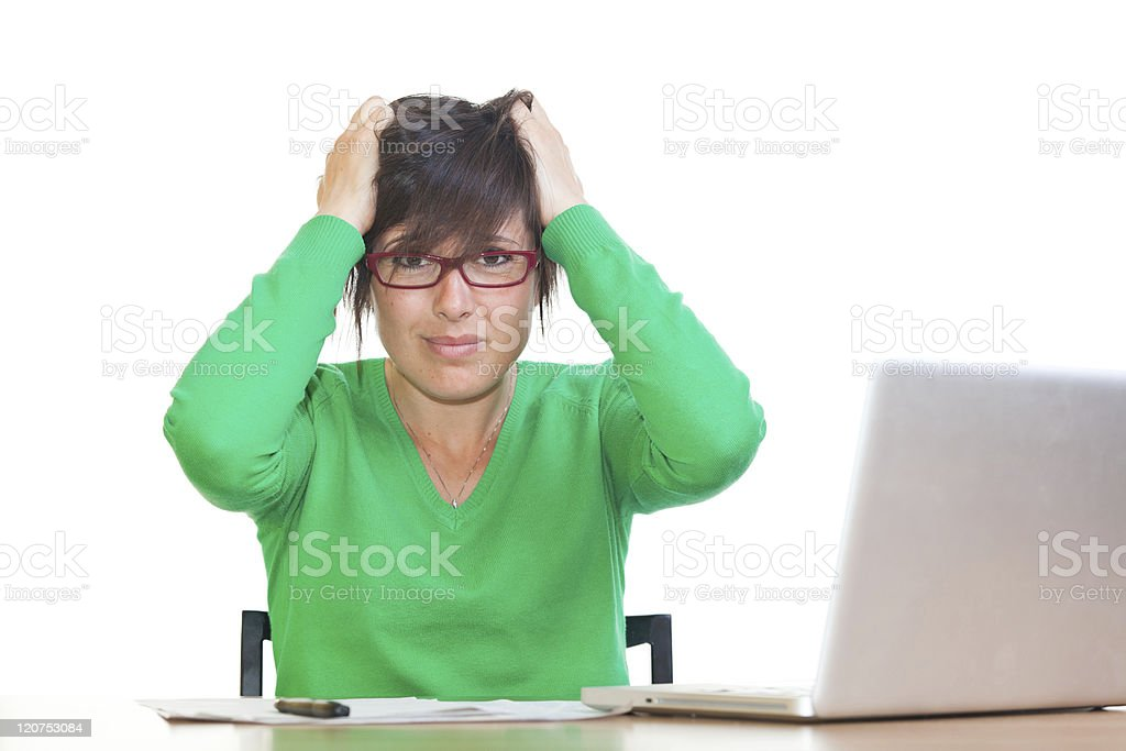 Stressed Young Woman at Office royalty-free stock photo