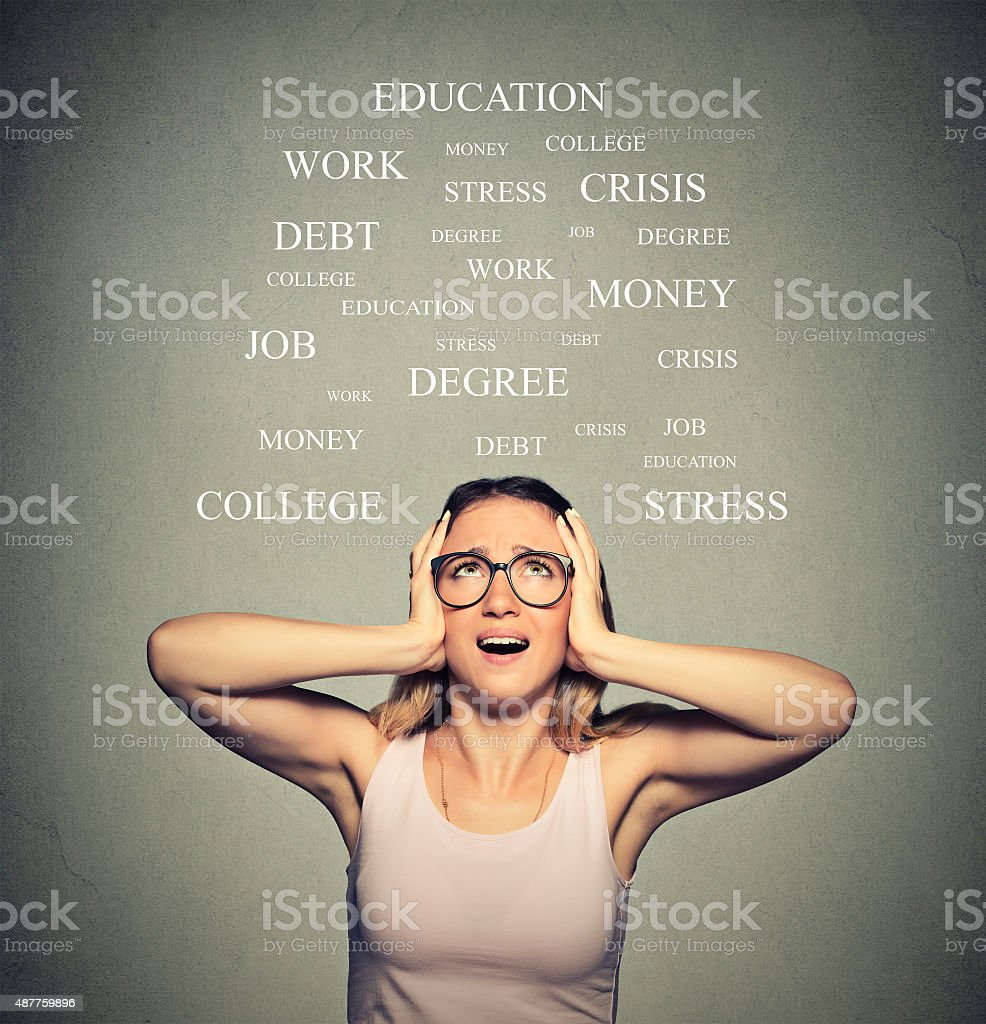 Stressed young woman shouting stock photo