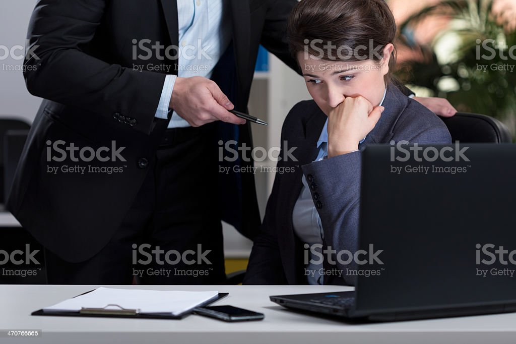 Stressful situation at work stock photo