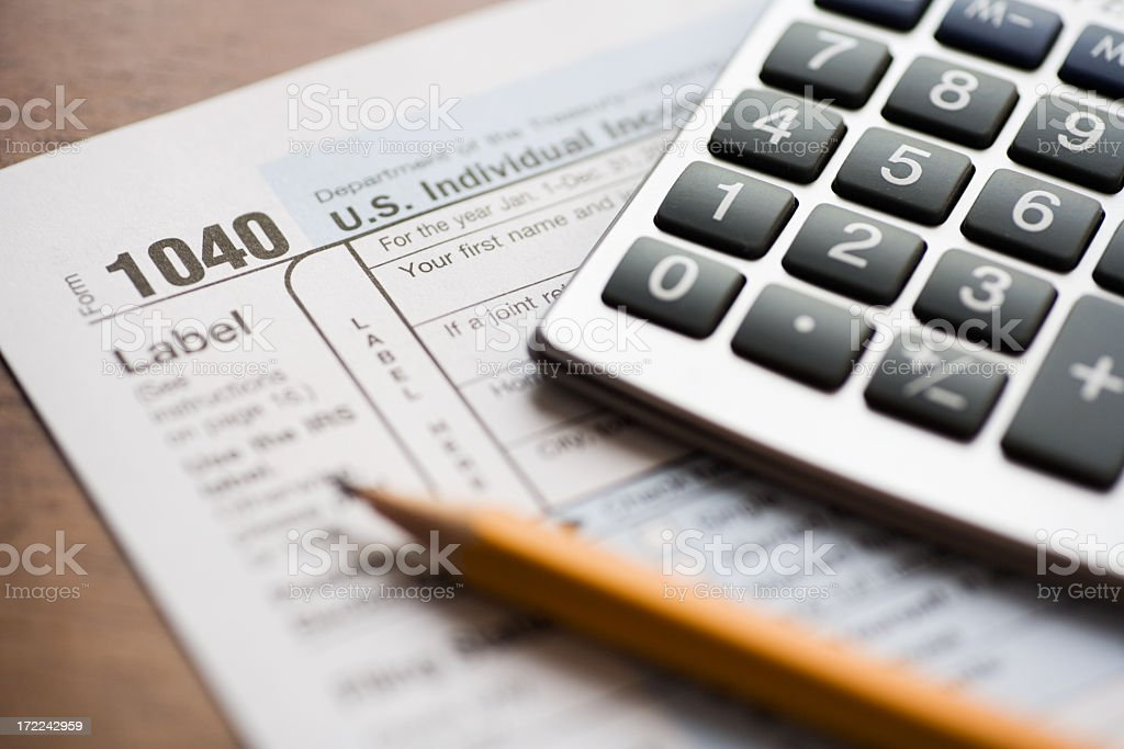 Stressful tax form and finance evaluation background royalty-free stock photo