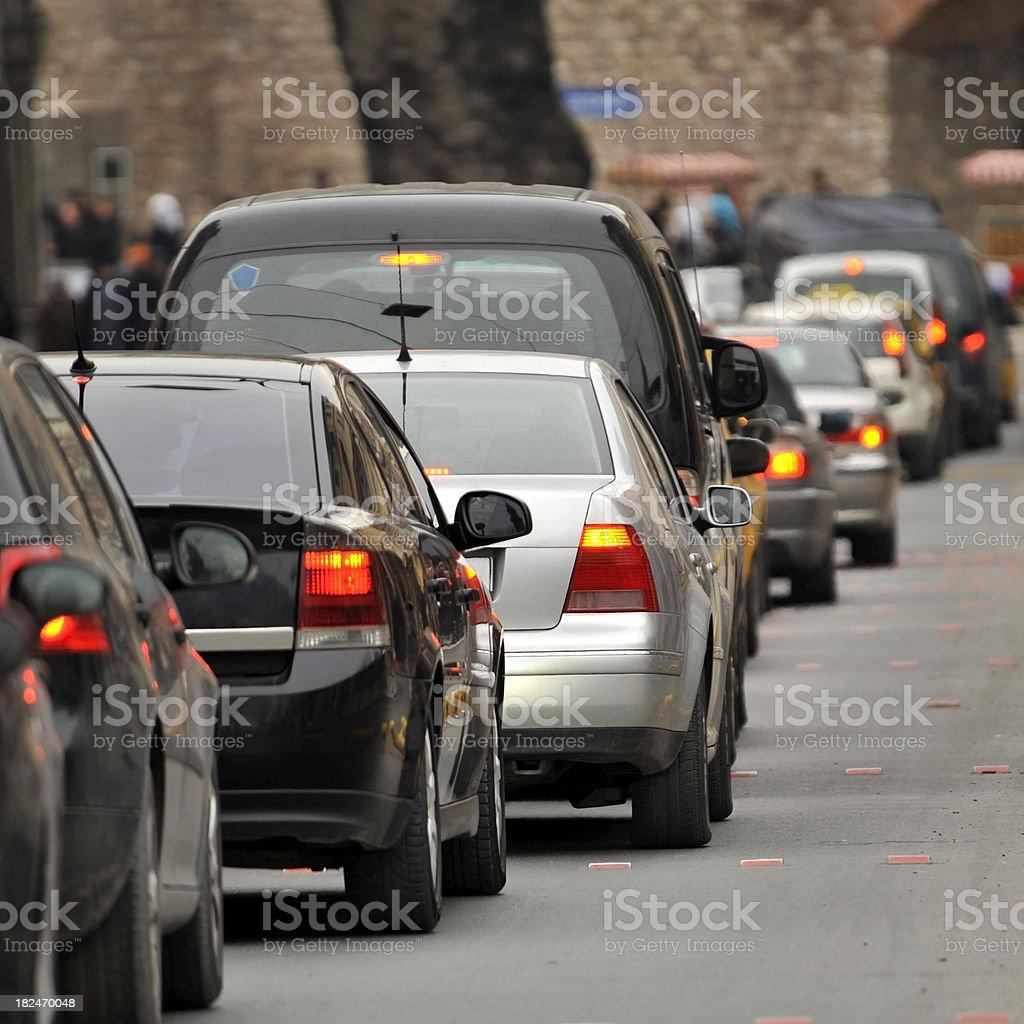 stressful traffic jam stock photo