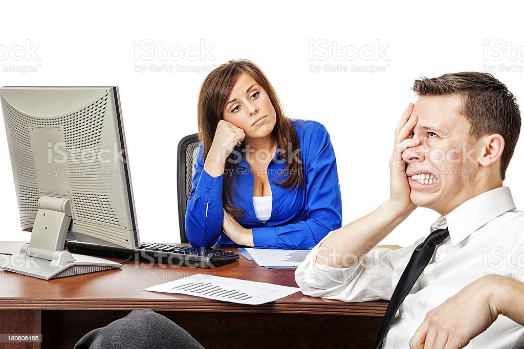 Stressfull Business Meeting with Boss stock photo