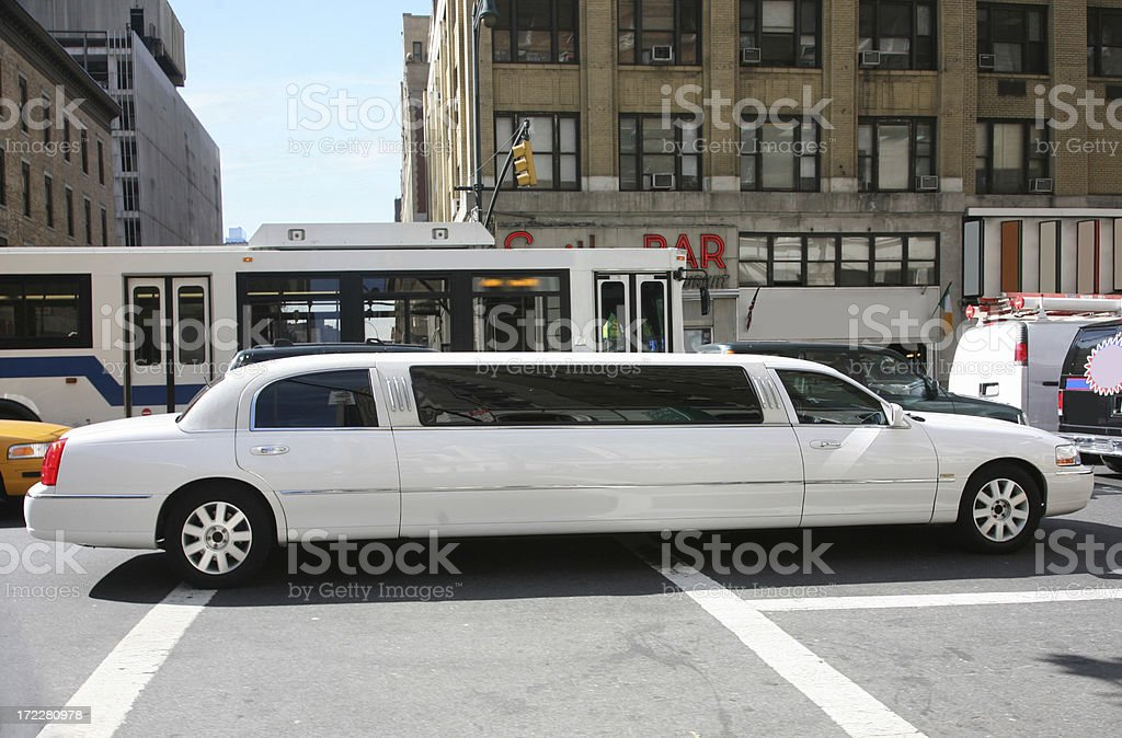 Stretch Limousine In City Traffic royalty-free stock photo