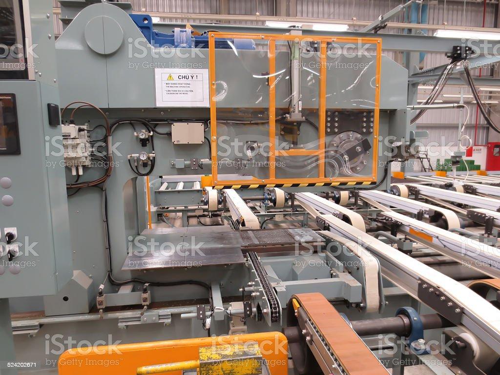 stretch machine in factory stock photo