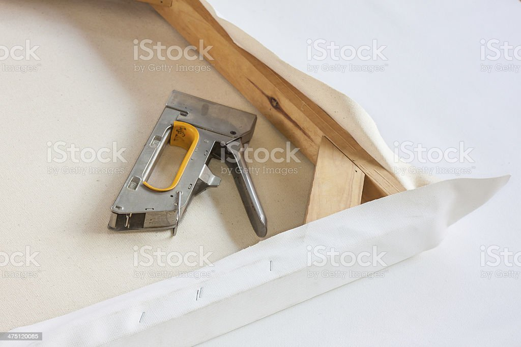 Stretched canvas and the staple stock photo