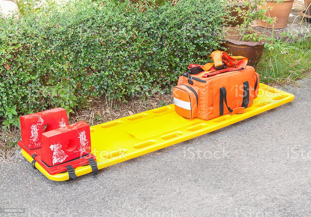 stretcher for emergency paramedic service. stock photo