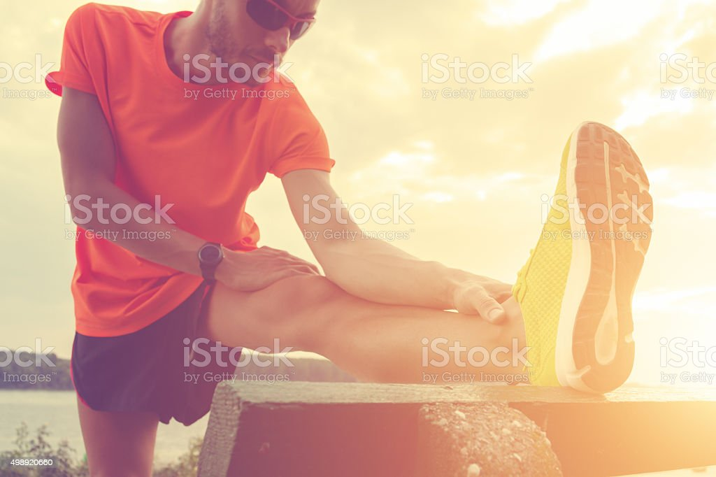 Stretching after Jogging stock photo