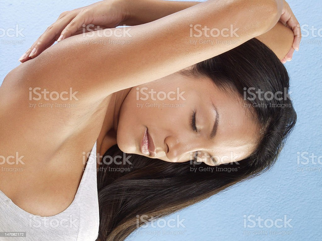 stretching and skin. royalty-free stock photo