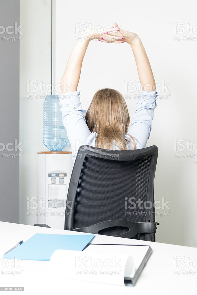 Stretching at work royalty-free stock photo