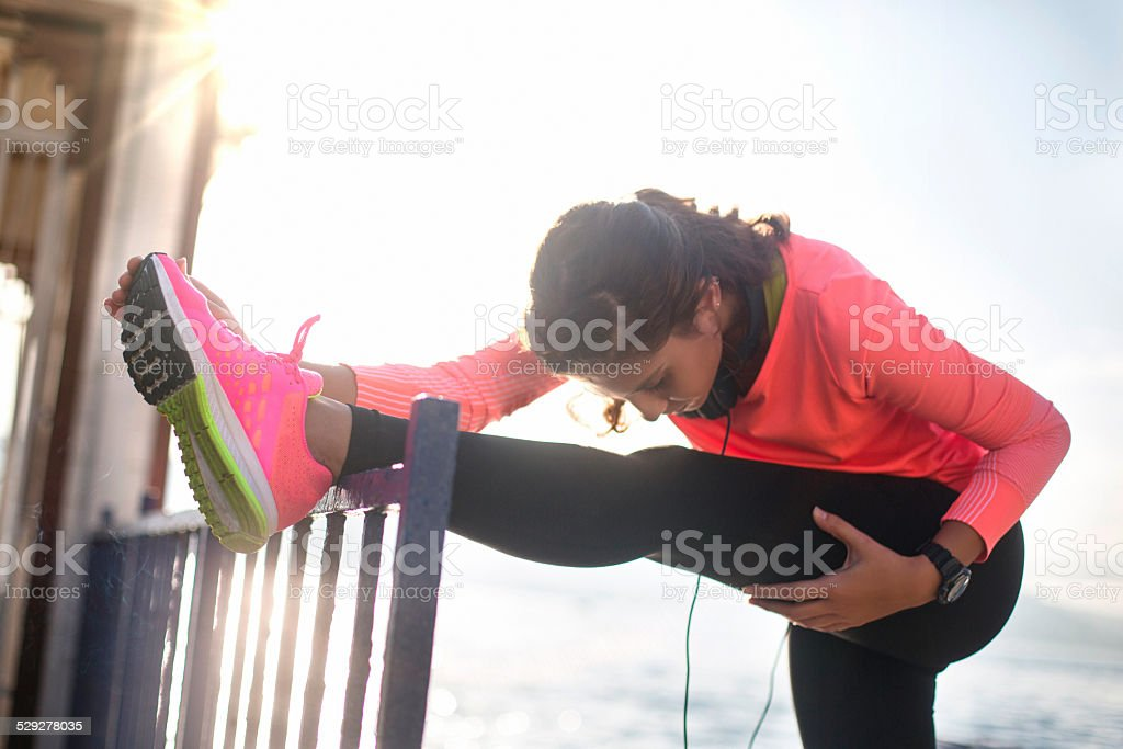 Stretching befor the exercise stock photo