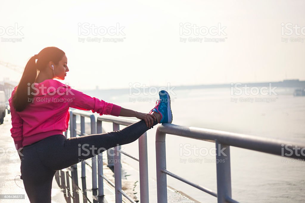 Stretching befor the exercise royalty-free stock photo