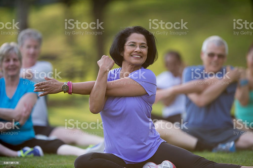 Stretching During Pilates stock photo