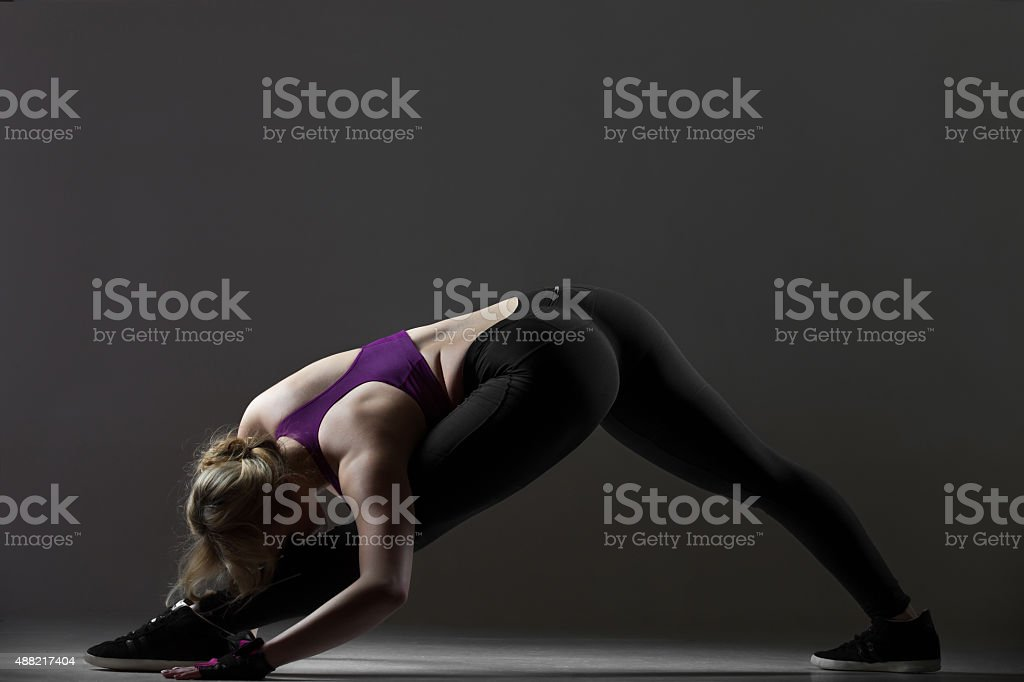 Stretching exercises for legs stock photo