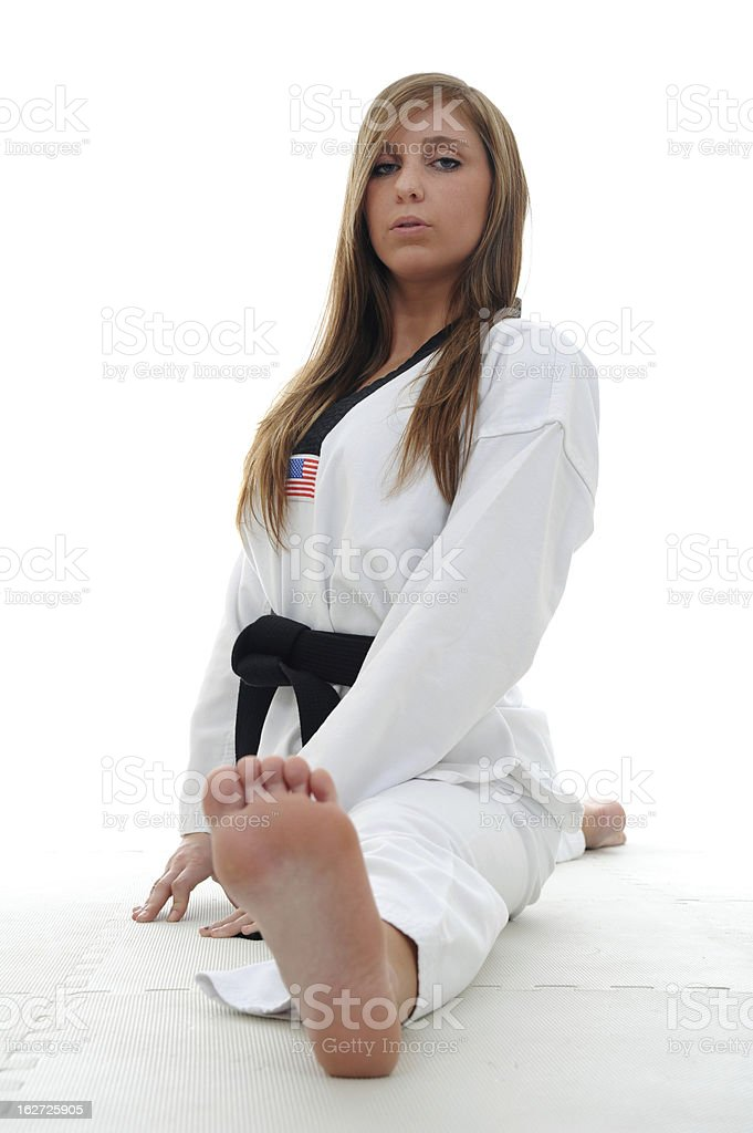 Stretching from a split royalty-free stock photo
