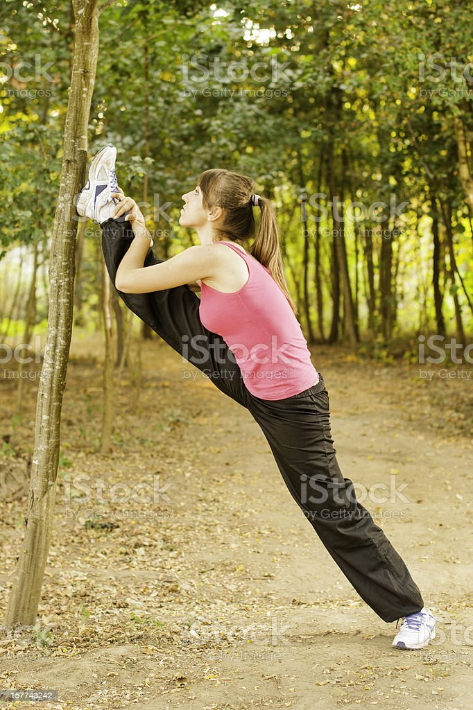 Stretching in nature royalty-free stock photo