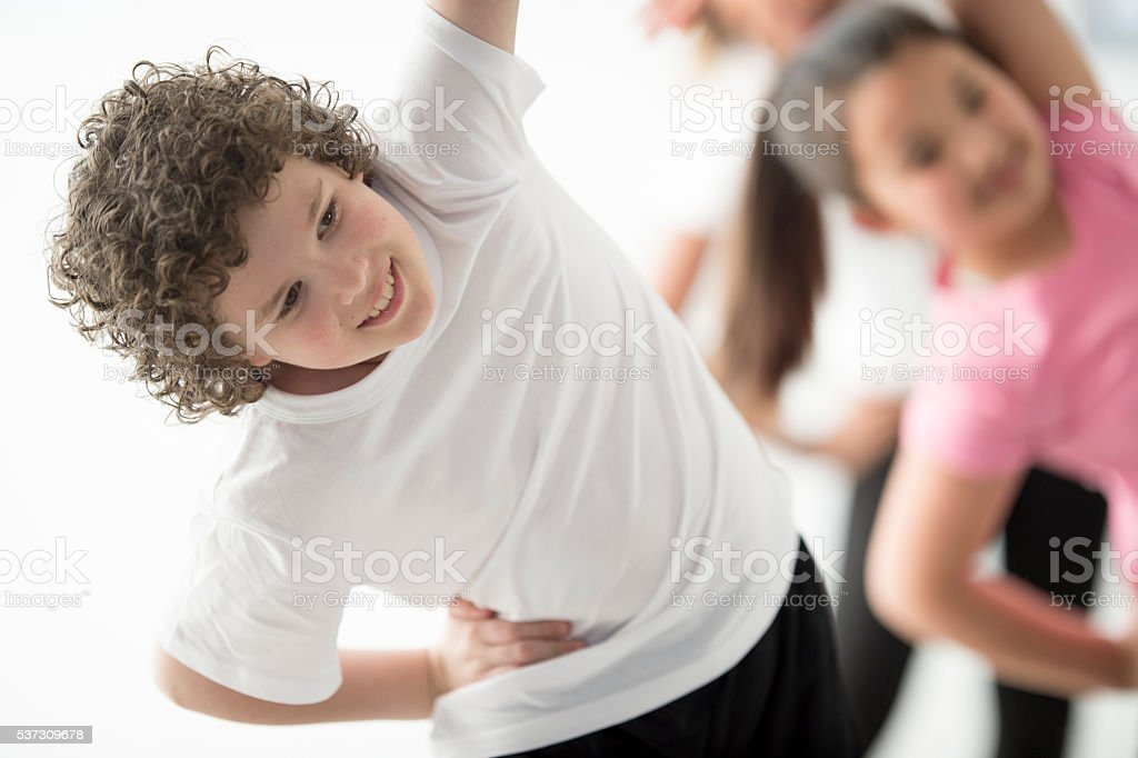 Stretching in Physical Education stock photo