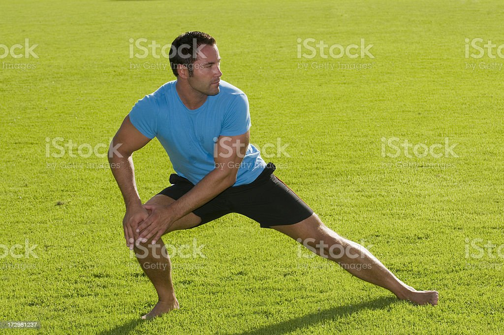 stretching in the grass royalty-free stock photo