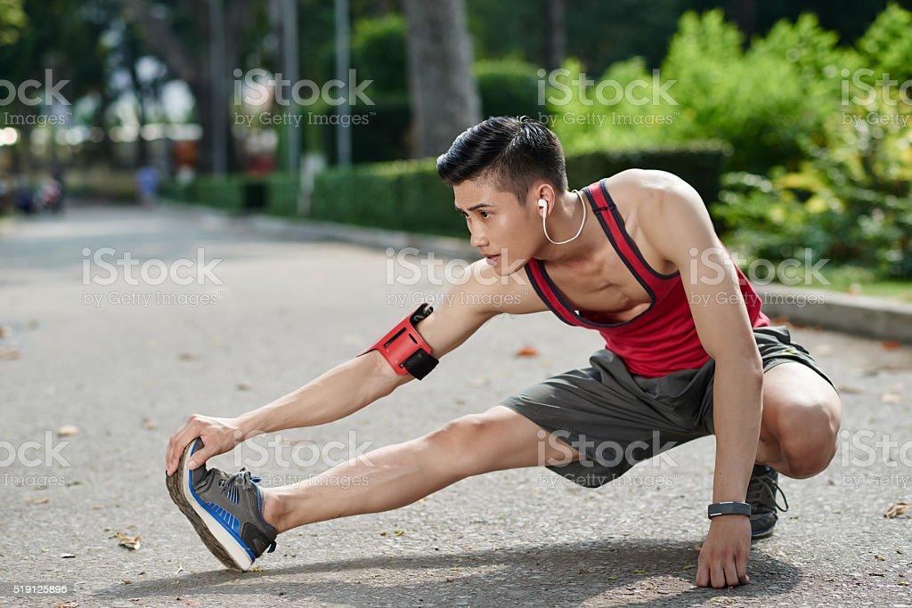 Stretching legs stock photo