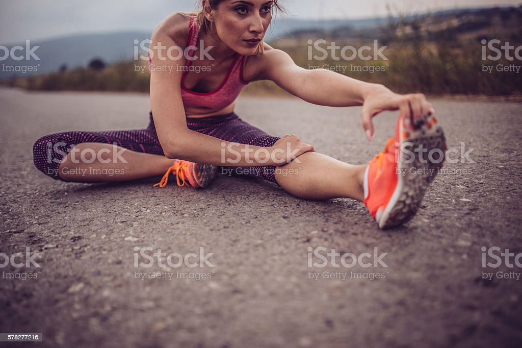 Stretching legs stock photo