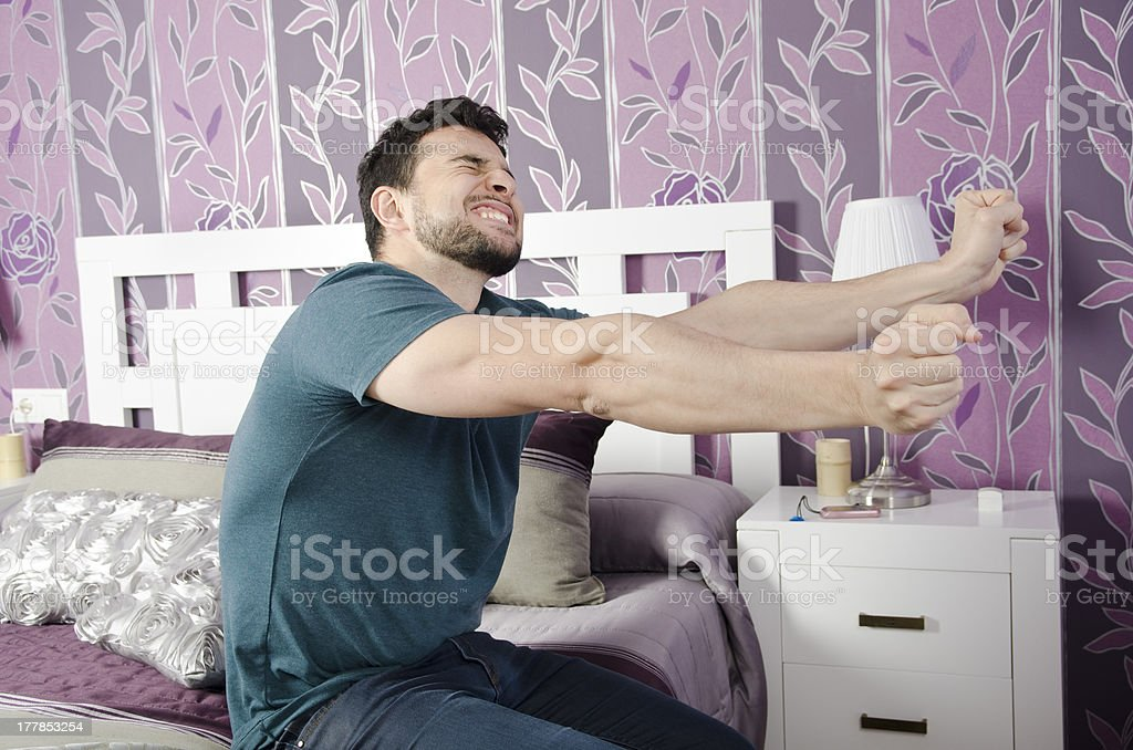Stretching man in the morning. stock photo