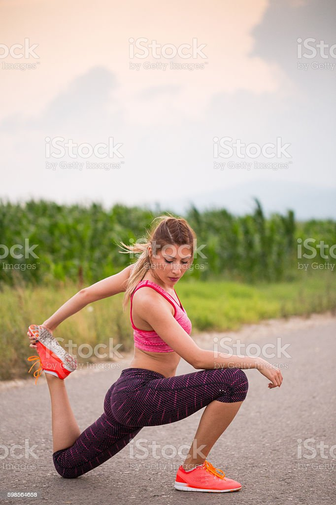 Stretching muscles stock photo