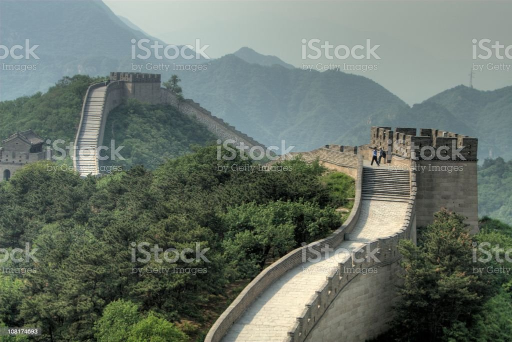 Stretching on the great wall. royalty-free stock photo
