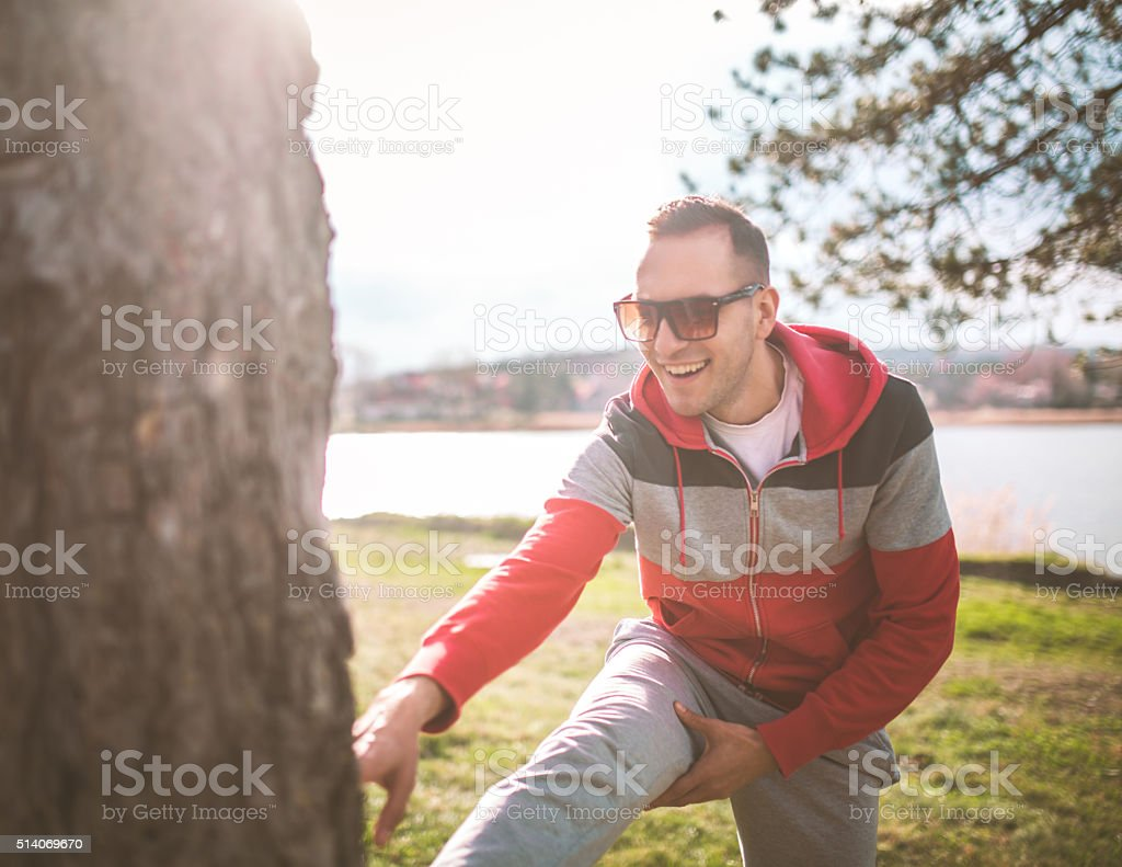 Stretching outdoors stock photo