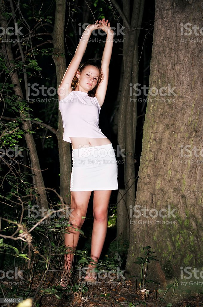 Stretching royalty-free stock photo