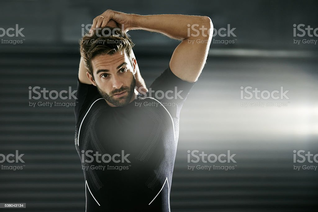 Stretching prevents injury and less muscle soreness stock photo
