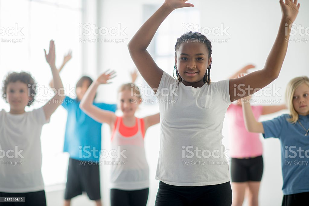 Stretching Together During Physical Education stock photo