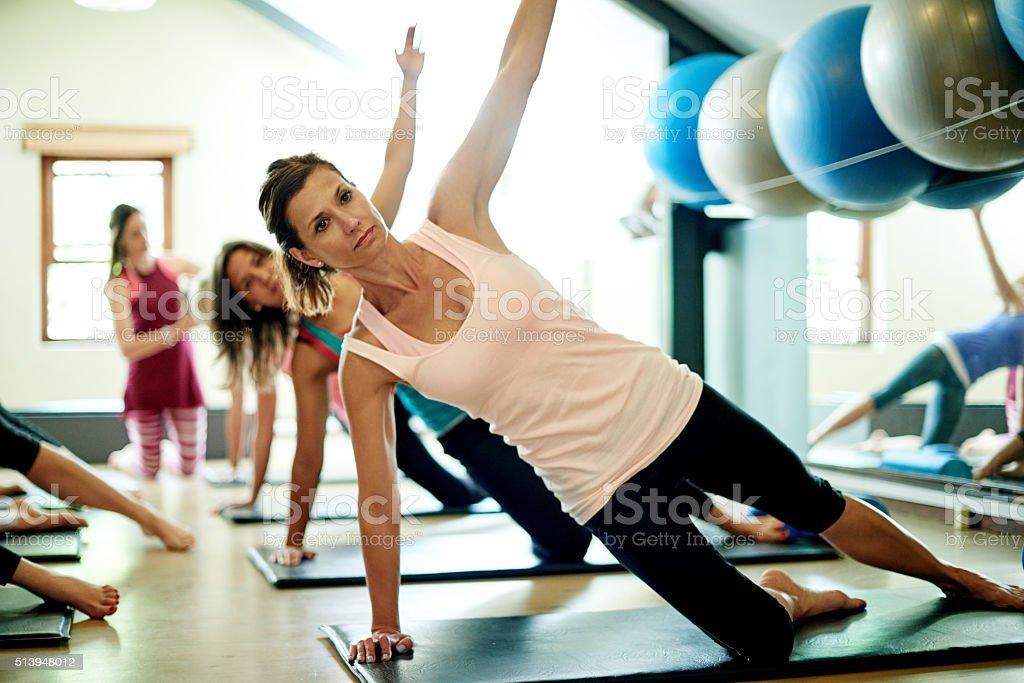 Stretching towards a healthier lifestyle stock photo
